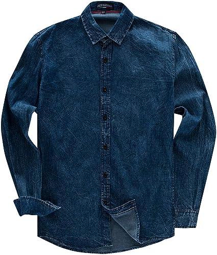 Fanuosums Camisas para Hombre Regular Fit, Camisa Vaquera ...