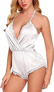 ADOME Women Lingerie Bodysuit V Neck Teddy Lace Babydoll Satin Pajamas Nightwear