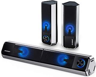 ELEGIANT Stationära PC-högtalare, 10W Bluetooth 5.0-högtalare, Dator Soundbar med 2,0-kanals stereoanläggning med 4 juster...
