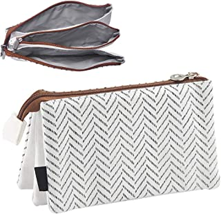 Oyachic Large Capacity Pencil Pen Case 3 Layers Stationery Pouch Zipper Cosmetic Bag Canvas Makeup Organizer Handbag Clutchbag with Large Storage(Gray Stripe)