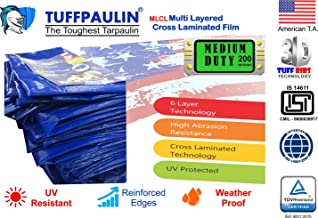 TUFFPAULIN(12X9,Blue) Medium Duty Tarpaulin Waterproof UV Treated 100% Virgin Extra Strong Quality 90 GSM