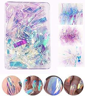 3 Colors Gradient Aurora Glass Paper Nail Sticker, CHANGAR 2020 Popular Reflective Mirror Design Broken Glass Stripe Line ...