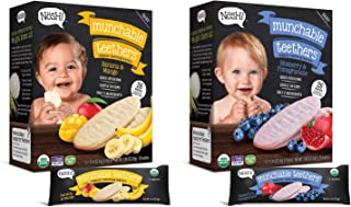 Nosh Baby Munchable Teethers Organic Rice Teething Wafers, 26 Piece, Sampler Pack (Pack of 2), Pomegranate Blueberry & Banana Mango