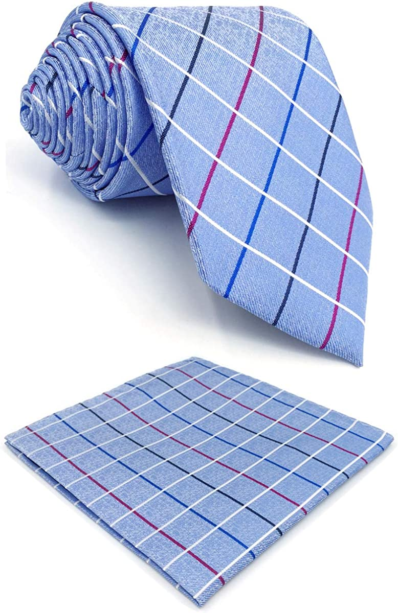 S&W SHLAX&WING Silk Ties for Men Necktie Light Blue Check
