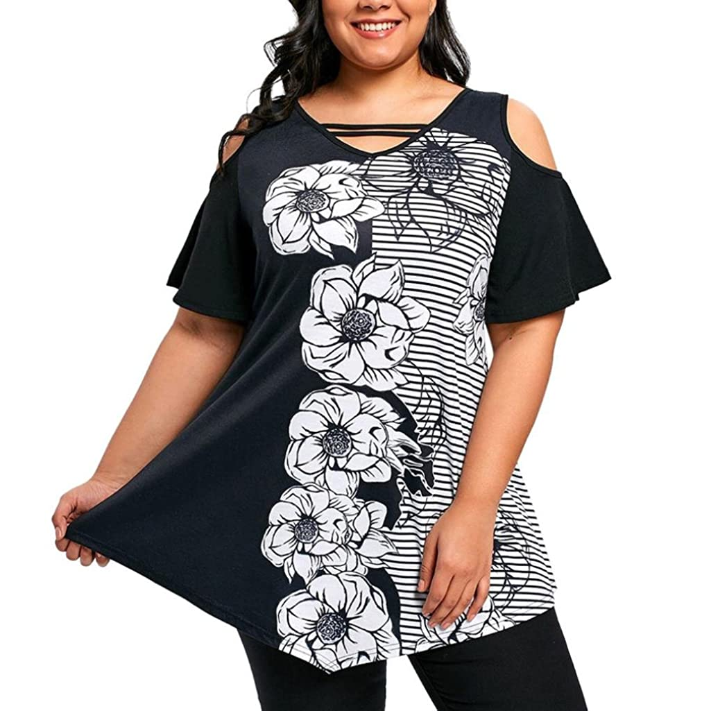 Elogoog Clearance! Plus Size Women's Floral Printed Short Sleeve Casual Loose V-Neck T Shirt Sexy Cold Shouder Tops Blouse