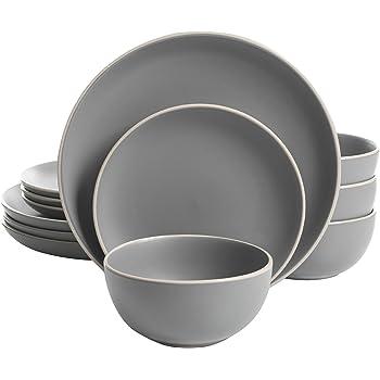 Gibson Home Rockaway 12-Piece Dinnerware Set Service for 4, Grey Matte - 114388.12RM