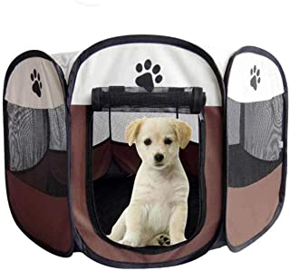 NEVERLAND003 Portable Folding Pet Tent Dog House Cage Dog Cat Tent Playpen Puppy Kennel Easy Operation Octagonal Fence Crate Doghouse