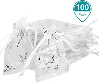 100 Pieces Christmas Organza Bags White Snowflakes Organza Gift Bags Jewelry Candy Drawstring Pouches for Christmas Wedding Valentine's Day Party, 3 x 4 Inch