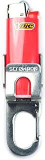 Screwpop Bic Mini Lighter Holder Keychain Multi Tool with Carabiner Clip and Bottle Opener Stainless Steel Construction
