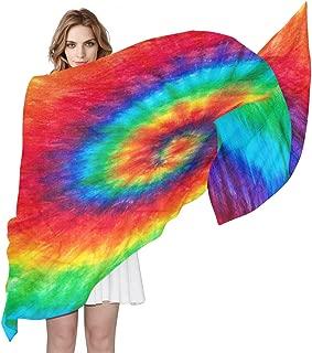 AUUXVA Colorful Rainbow Spiral Tie Dye Pattern Women Silk Scarf Lightweight Long Soft Chiffon Shawl Wrap Neck Scarves Muffler for Ladies Girls Men