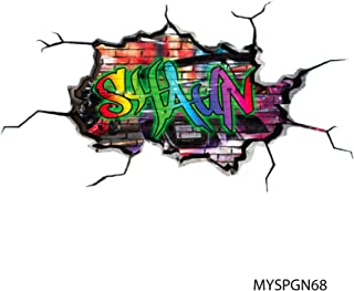 MySticky Vinyl Graffiti Wall Decal + Custom Text | 3D...