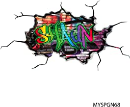MySticky Vinyl Graffiti Wall Decal + Custom Text | 3D Sticker | Peel & Stick | DIY Friendly | Easy Application | Art & Decor - Cracked Wall (3 Sizes = S/M/L) [Bedroom, Living-Room, Kids or Any Room]