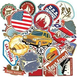 100 Packs Travel Map National Flag Stickers Water Bottles Laptop Car Hydroflasks Phone Skateboard Computer Vinyl Sticker Waterproof World Country Regions Logo Decals for Teens Boys Girls Adults