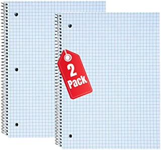 """1InTheOffice Graph Ruled Spiral Notebook, Quad Ruled Notebook Spiral, 100 Sheets, 8""""H x 10 1/2""""W """"2 Pack"""""""