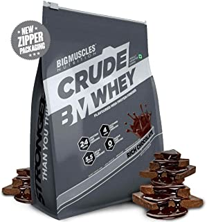 Bigmuscles Nutrition Crude Whey - 2 kg (Rich Chocolate), Whey Protein Concentrate 80%, 24g Protein, 5.5g BCAA, 4 g Glutamine