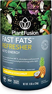 PlantFusion Fast Fats Refresher Keto Energy Powder | Ketogenic Diet Supplement with MCTs & Electrolytes | Vegan Powdered D...