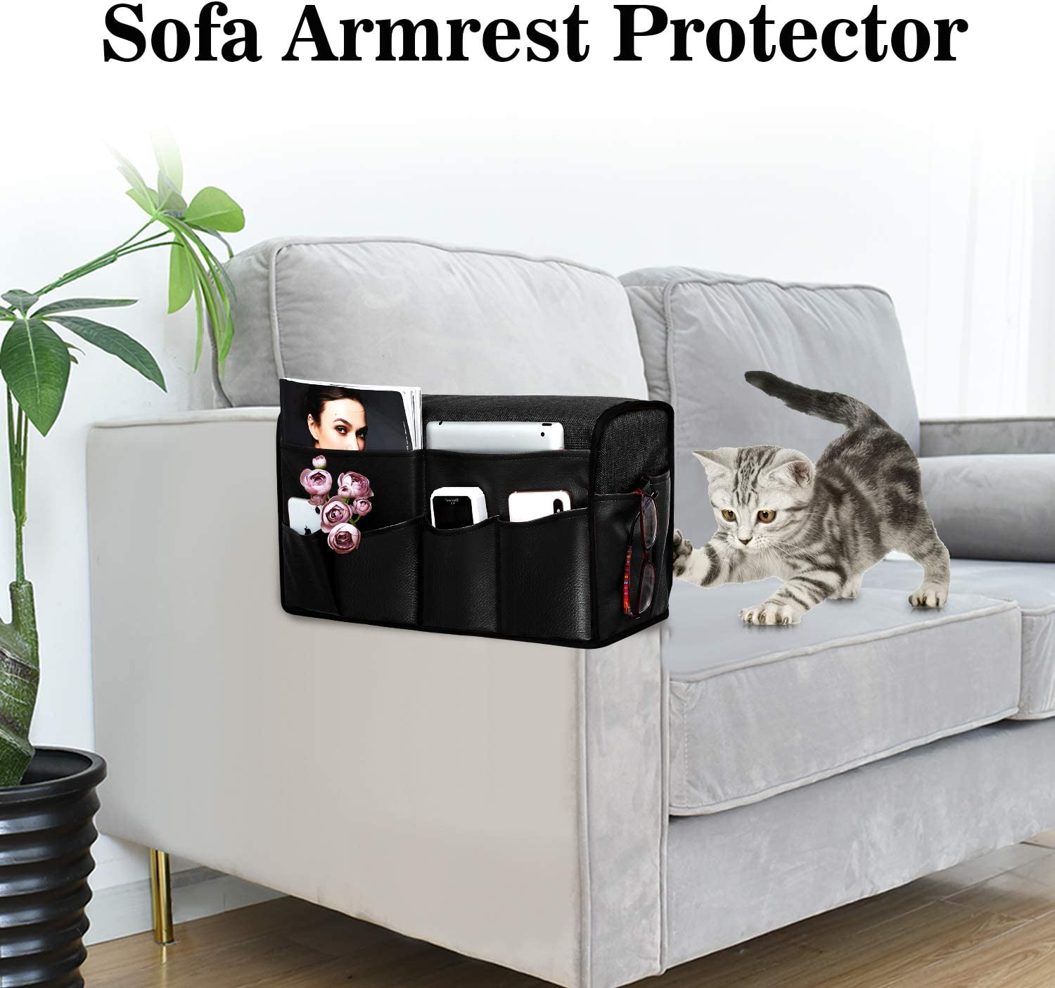 Black Phone iPad Super Durable Recliner Arm Protector for Pets Joywell Leather Anti-Slip Armrest Covers with 8 Pockets for Sofa Couch Set of 2 Armchair Caddy /& Organizer for Remote Control
