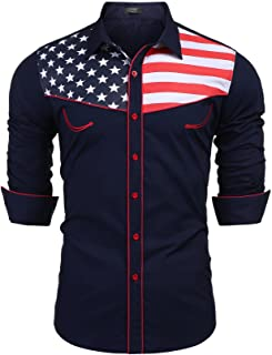 Coofandy Men's Embroidered Rose Western Shirt Long Sleeve Button Down Shirts