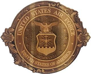 3D Engraved U.S Air Force Crest Cutout Hard Maple Wood U.S. Air Force Custom Made Military Emblem Veteran Memorabilia Patriotic Symbol U.S. Air Force Crest (12