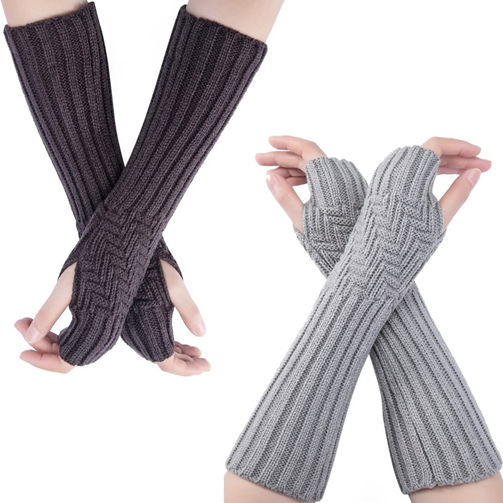 Fort Worth Mall Flyou 2PairsWomen Knit Arm Warmers Hole Challenge the lowest price of Japan Gloves Fingerless Thumb