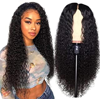 UNice Hair Bettyou Series Jerry Curly 13x4 Lace Front Human Hair Wigs 18 Inch, 180% Density, Unprocessed Brazilian Virgin Hair Free Part Wig with Baby Hair Natural Black Color