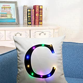 "SIDELI Creative LED Colorful Flashing Velvet Letter Cushion Cover Pillow Cover Bar Use Party Use Festival Use Gift Use18""x18"" or 45cm x 45cm 1pc (C)"