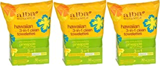 Alba Botanica Hawaiian 3-in-1 Clean Towelettes 30 Count (Pack of 3)