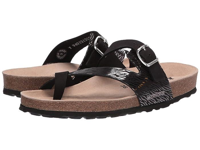 Mephisto  Nalia (Black Sandalbuck/Zebra) Womens Sandals