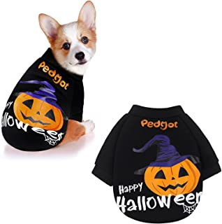 Pedgot Halloween Dog Shirt Pet Clothes Breathable Stretchy Tee Cotton Puppy T-Shirts Pet Halloween Costumes for Dog Cat