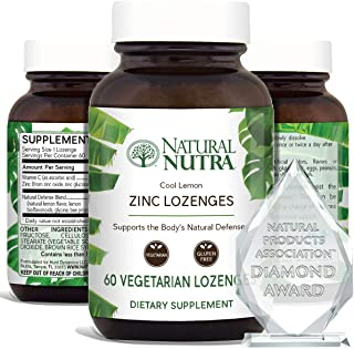 Natural Nutra Zinc Lozenges with Vitamin C, Lemon Flavor, Immune Support and Sore Throat Relief, Fortified ...