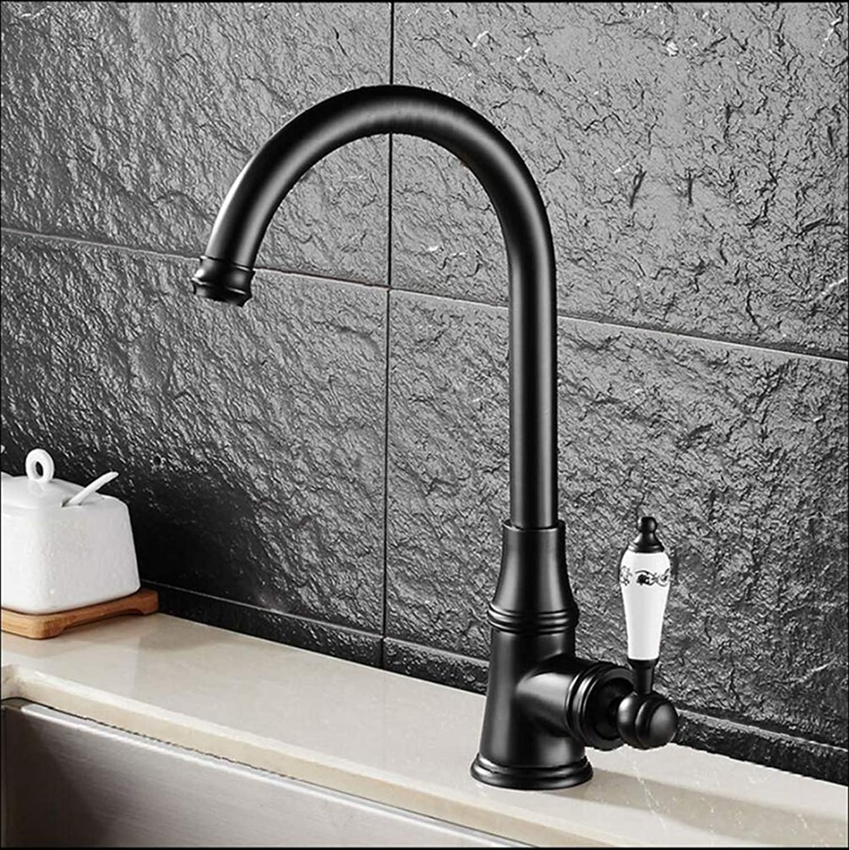 FZHLR European Retro Style Crane Chrome Kitchen Faucet Swivel Bathroom Basin Faucet Brass Sink Faucet Water Mixer Tap,B