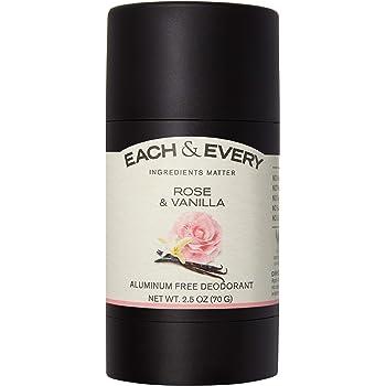 Each & Every Natural Aluminum Free Deodorant for Women and Men, Cruelty Free Vegan Deodorant with Essential Oils, Non-Toxic, Paraben Free, Rose & Vanilla, 2.5 Oz.