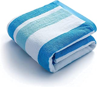 Vessia Luxury Cotton Beach Towel(Blue, 30x60 inch), Soft Touch Stripe Pool Towel with Travel Bag - Super Absorbent Plush S...