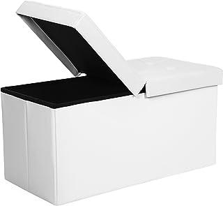 comprar comparacion SONGMICS Puff Baúl Plegable Taburete de almacenamiento 80 L Tapa plegable Carga máxima de 300 kg Blanco 76 x 38 x 38 cm LS...
