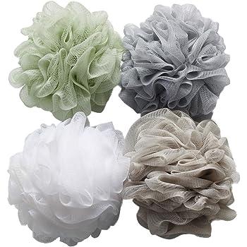 Esponja de baño para la ducha 4 unidades de 60 g cada una, esponja puf de malla lufa para el baño: Amazon.es: Belleza