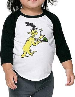 Baby Unisex 3/4 Sleeve Raglan Dr Seuss Green Eggs and Ham Baseball Shirts Tee