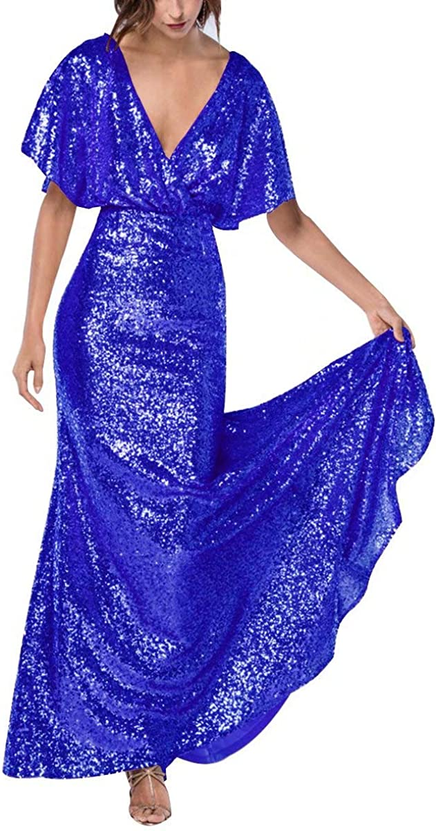 Staypretty Women's Manufacturer regenerated product Columbus Mall V Neck Sequin Evening Prom Mermaid Gown Long