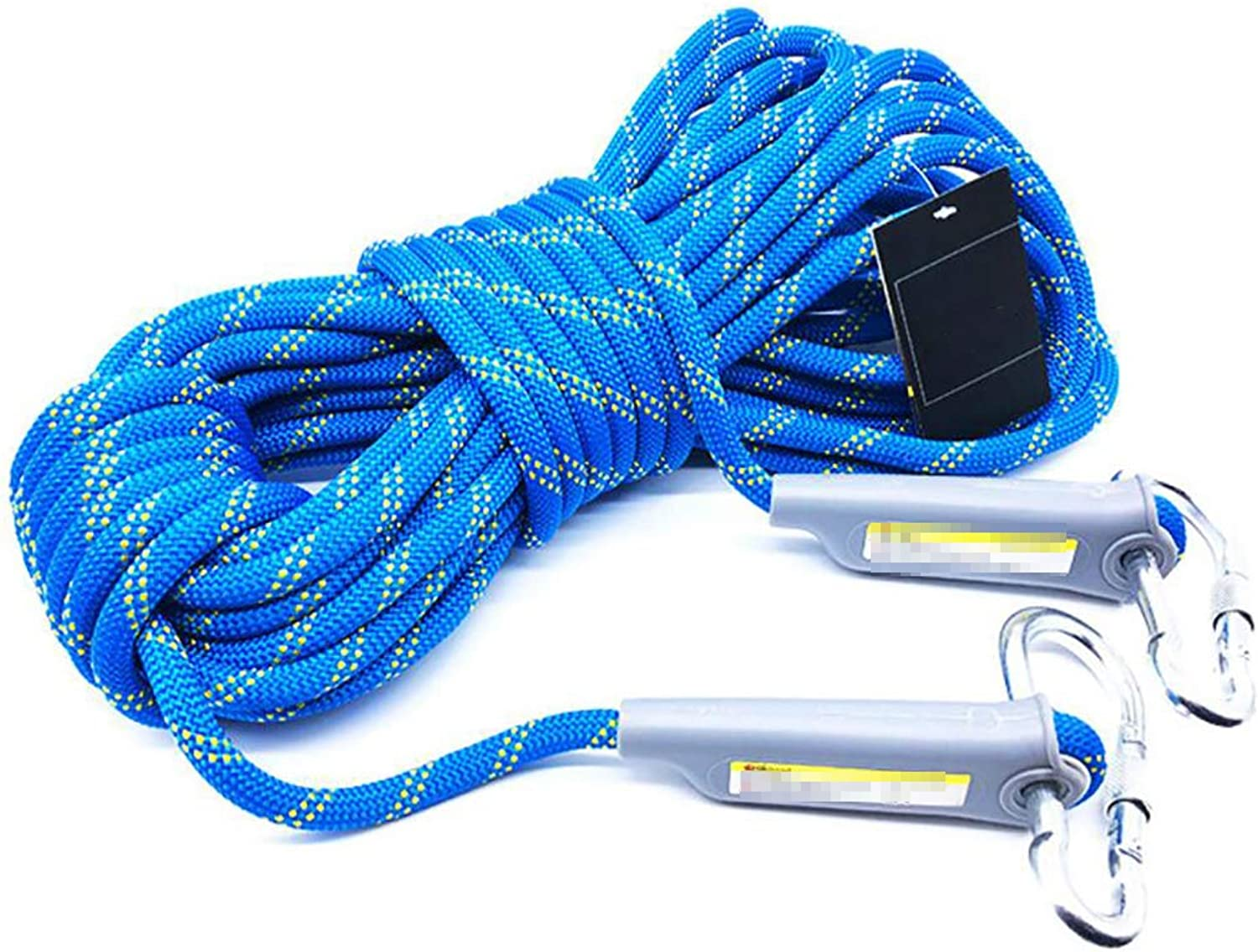 DPPAN Rock Climbing Safety Rope Outdoor, Professional High Strength with 2 Hooks, Hiking Parachute Escape,12mm_100m(328ft)