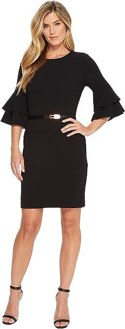 Ivanka Trump - Scuba Crepe Bell Sleeve Dress with Belt