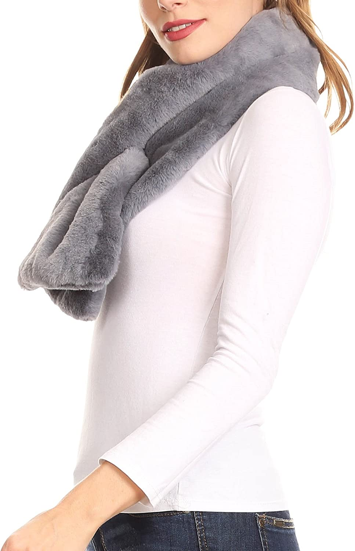 Sakkas Malen langes Rechteck-Pelz-warme weiche Pelz Verpackung um Schlupfloch Schal Holzkohle