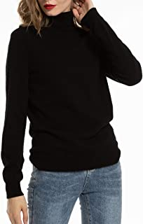 Women's 100% Merino Cashmere Turtleneck Sweaters Knit Wool Long Sleeve Sweaters for Women Winter