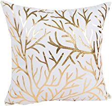 Topmy Throw Pillow Cases Gold Foil Printing Square Throw Pillow Cover Cushion Case for Sofa Bedroom Car Home Decor,45X45cm (B)