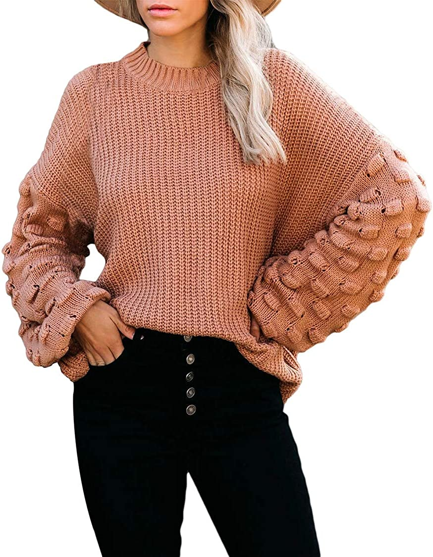 Sovoyontee Women's Cute Oversized Wholesale Crewneck Loose Puff Ch Max 53% OFF Sleeves