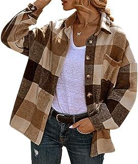 Camicia a Quadri per Donna a Maniche Lunghe con Bottoni in Flanella Morbida Giacca Cappotto Camicia a Plaid Casual Moda