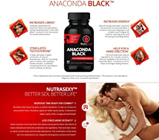 Anaconda Black Supplement for Energy and Stamina, Formulated with L Arginine, Panax Ginseng Root, Maca Root, and Zinc 60 Caps