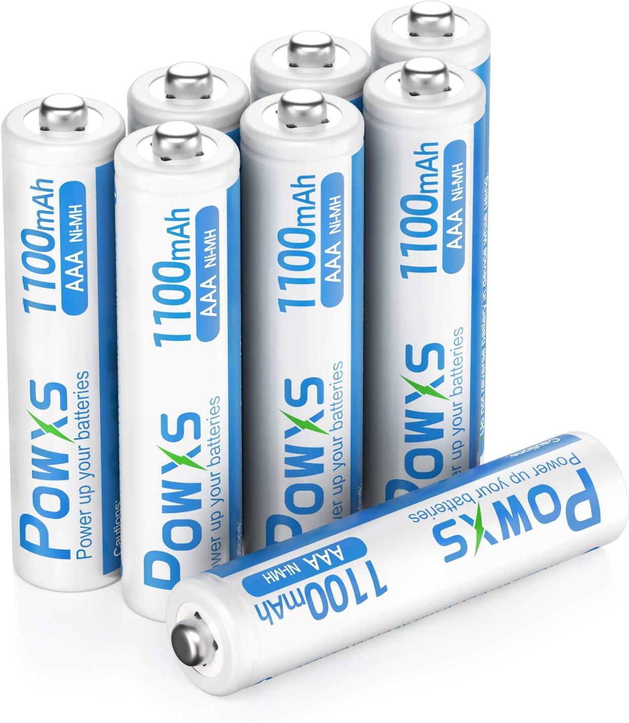 POWXS AAA Akku 800mAh 1200 Recyclingzeiten Vorgeladene 1.2V NiMH AAA Hochleistungsbatterien 8er Pack mit Aufbewahrungskiste wiederaufladbar ohne Memory Effekt sofort einsatzbereit