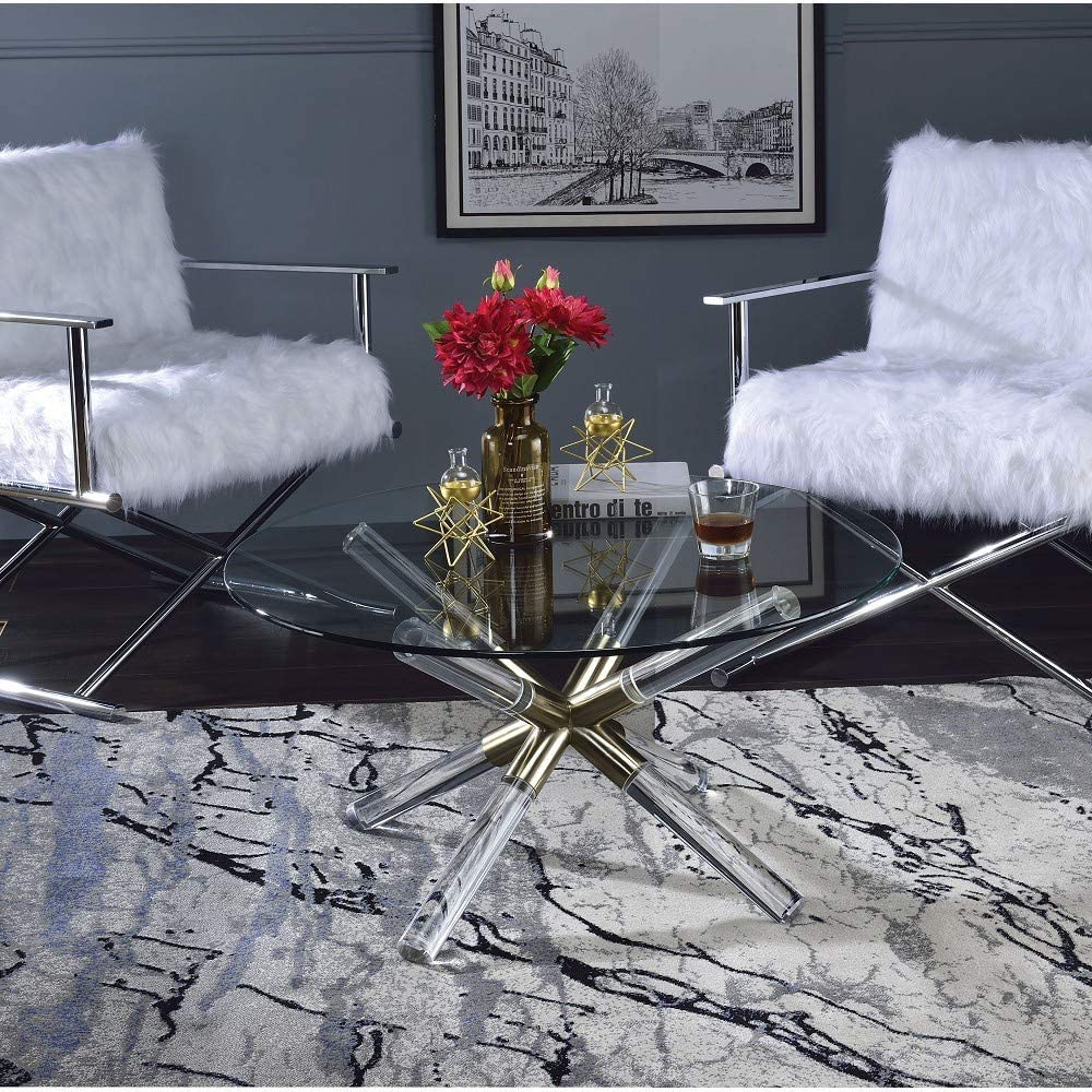 Limited price TITA-DONG Kalani Coffee Table in Clear Glas Acrylic Gold Ranking TOP11