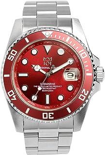 [HYAKUICHI 101] ダイバーズウォッチ 20気圧防水 日付表示 逆回転防止ベゼル 腕時計 メタルバンド レッド メンズ