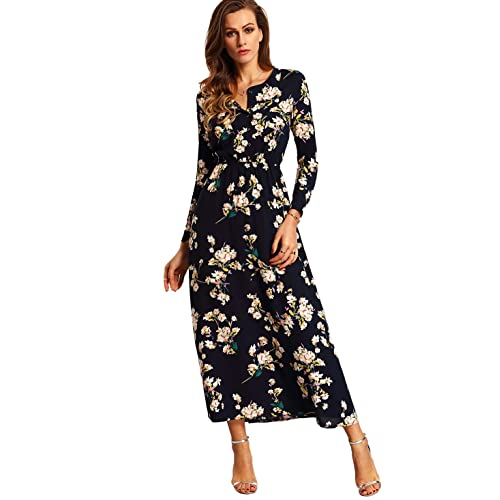 181eebf4d2f Milumia Women s Boho Long Sleeve Floral Print Beach Party Maxi Dress