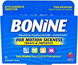 Bonine Raspberry Chewable Tablets for Motion Sickness, 16 (2 Pack), 16 Count (Pack of 2)